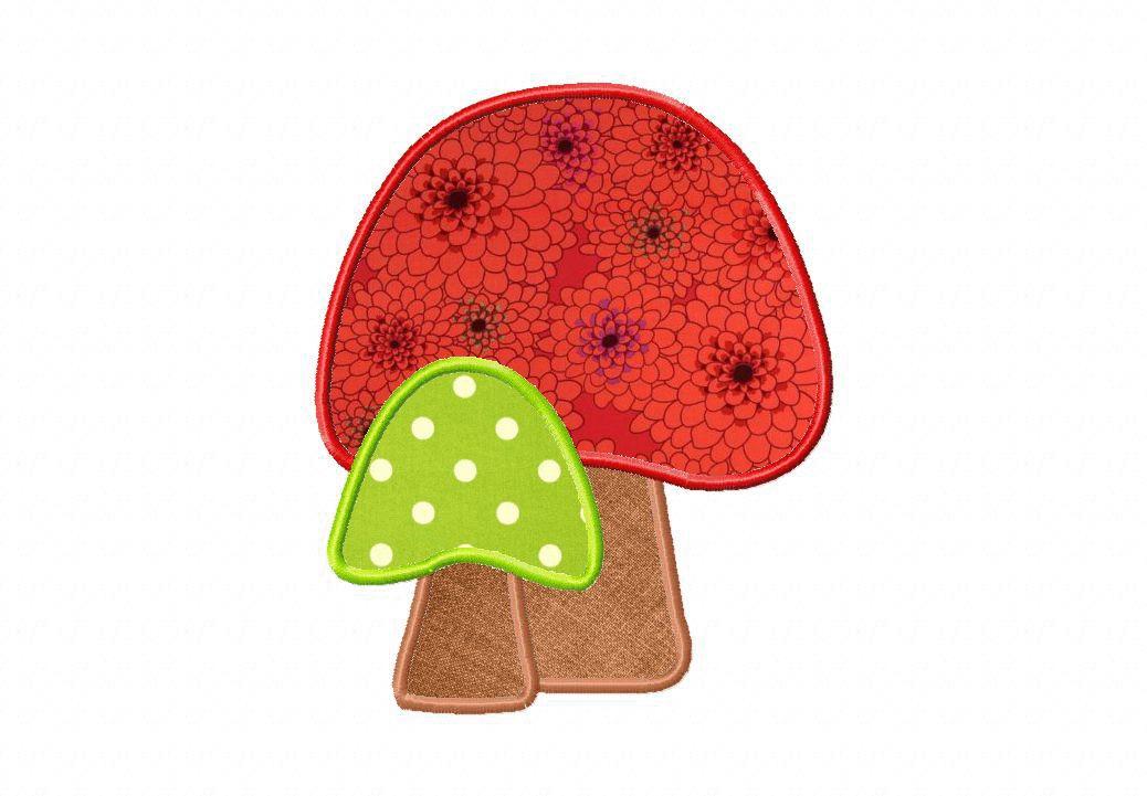 Mushroom Applique Pattern Mushroom Embroidery Design Includes Fill