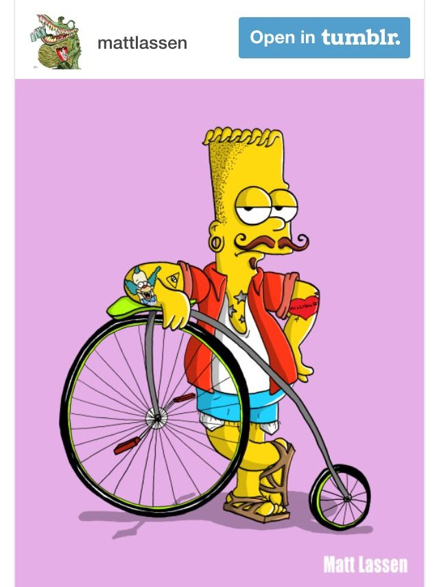 Hipster Bart Simpsons bicycle