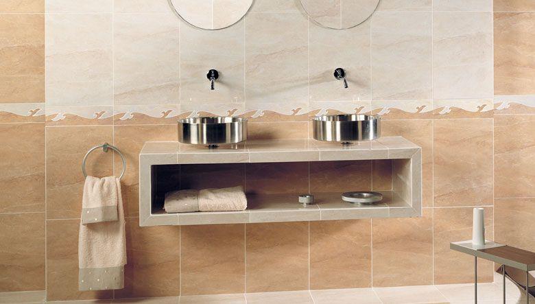 Ambientes de dise o con azulejos decorativos de estilo for Cuartos de bano beige