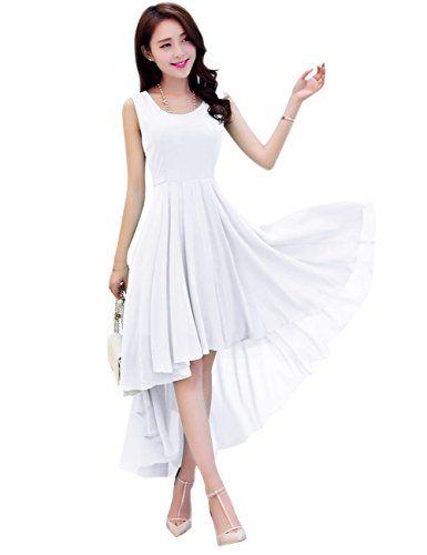 15dbe60178dc Dasior Womens ALine Plus Size High Low Summer Beach Holiday Party Dress 2XL  White * Find