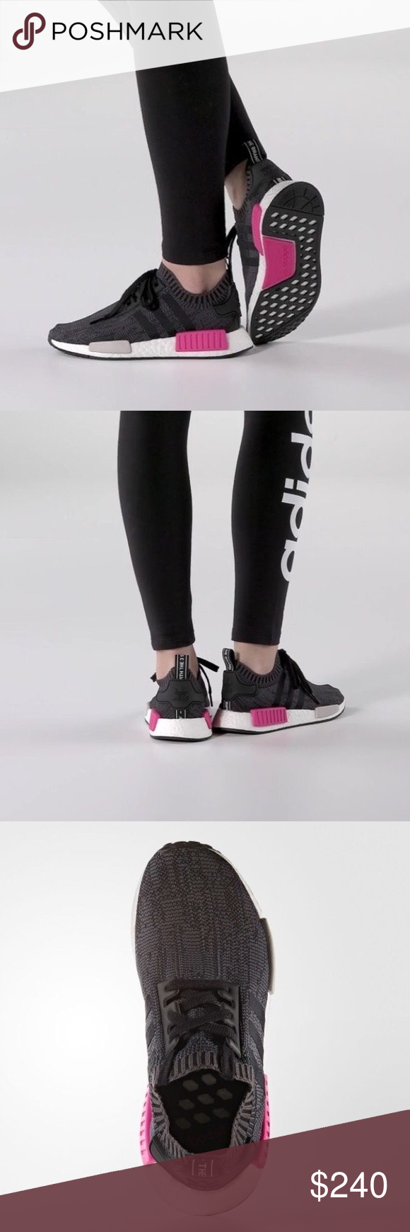 c8abad1b815dd Adidas NMD R1 PK Primeknit Black Shock Pink BB2364 NEW WITH BOX AUTHENTIC ADIDAS  NMD R1
