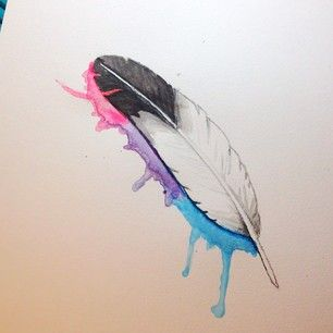 watercolor tattoo, feather, simple with splash of color ...