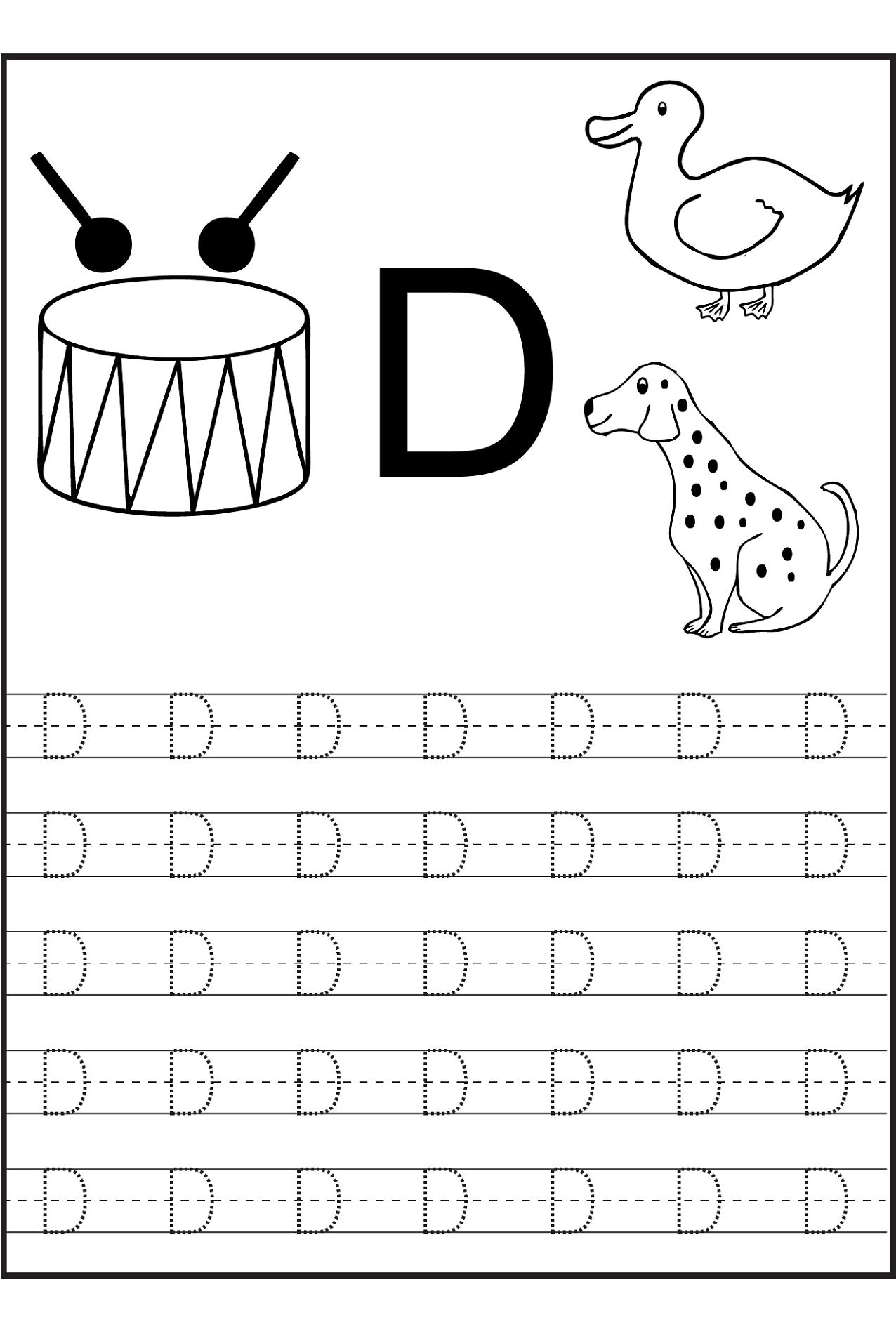 Traceable Letters Worksheet for Children Golden Age Activities – Letter D Worksheets for Kindergarten