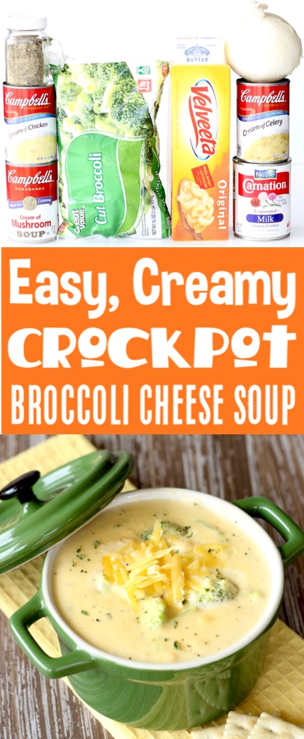 Crockpot Soup Recipes Easy Broccoli Cheese Soup Recipe! Just 10 minutes of prep, and then you'll le
