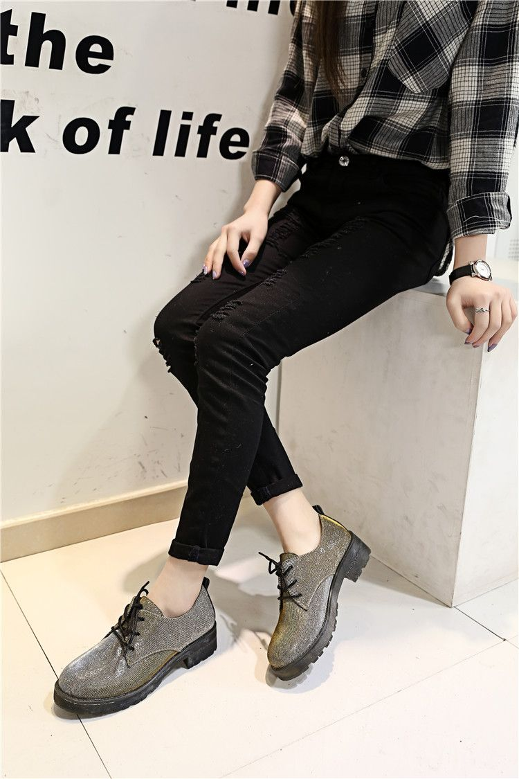 2015新款韓版春秋新款女鞋淺口圓頭低跟方根軟面皮鞋系帶低幫女鞋-淘寶網
