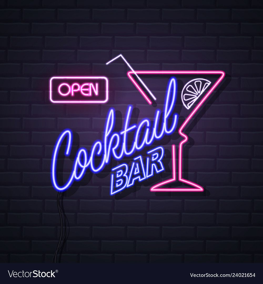 Neon Sign Cocktail Bar On Brick Wall Background Vector Image On Vectorstock Neon Signs Neon Bar Signs Brick Wall Background