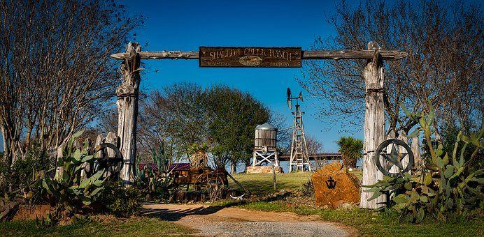Texas, Ranch, Farm, Hdr, Entrance