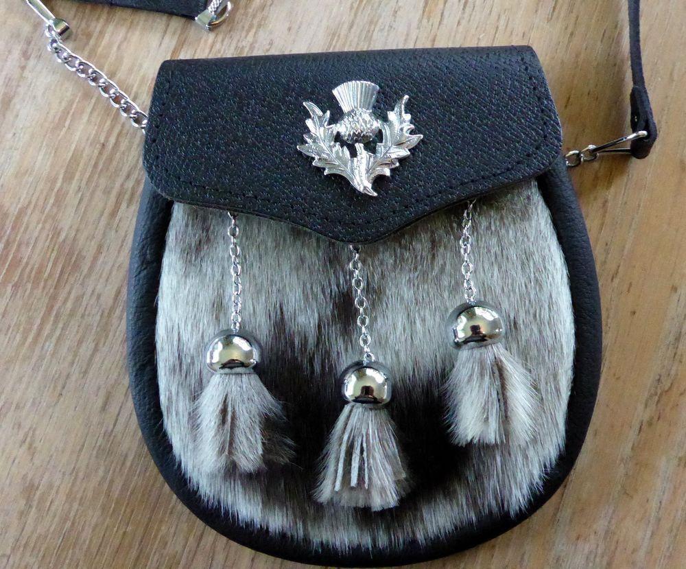 Highland Thistle Cowhide Semi Dress Sporran Pristine Conditon Semi Dresses Cowhide Thistle