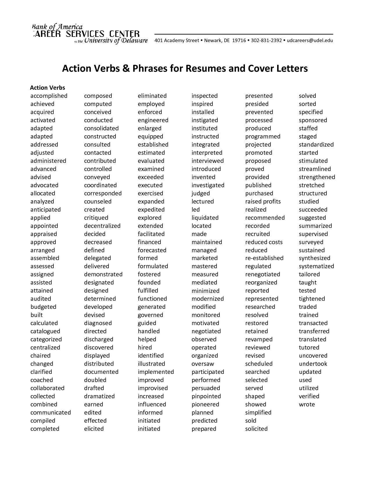 Action Verbs Phrases For Resumes And Cover Letters  Resume Power Phrases