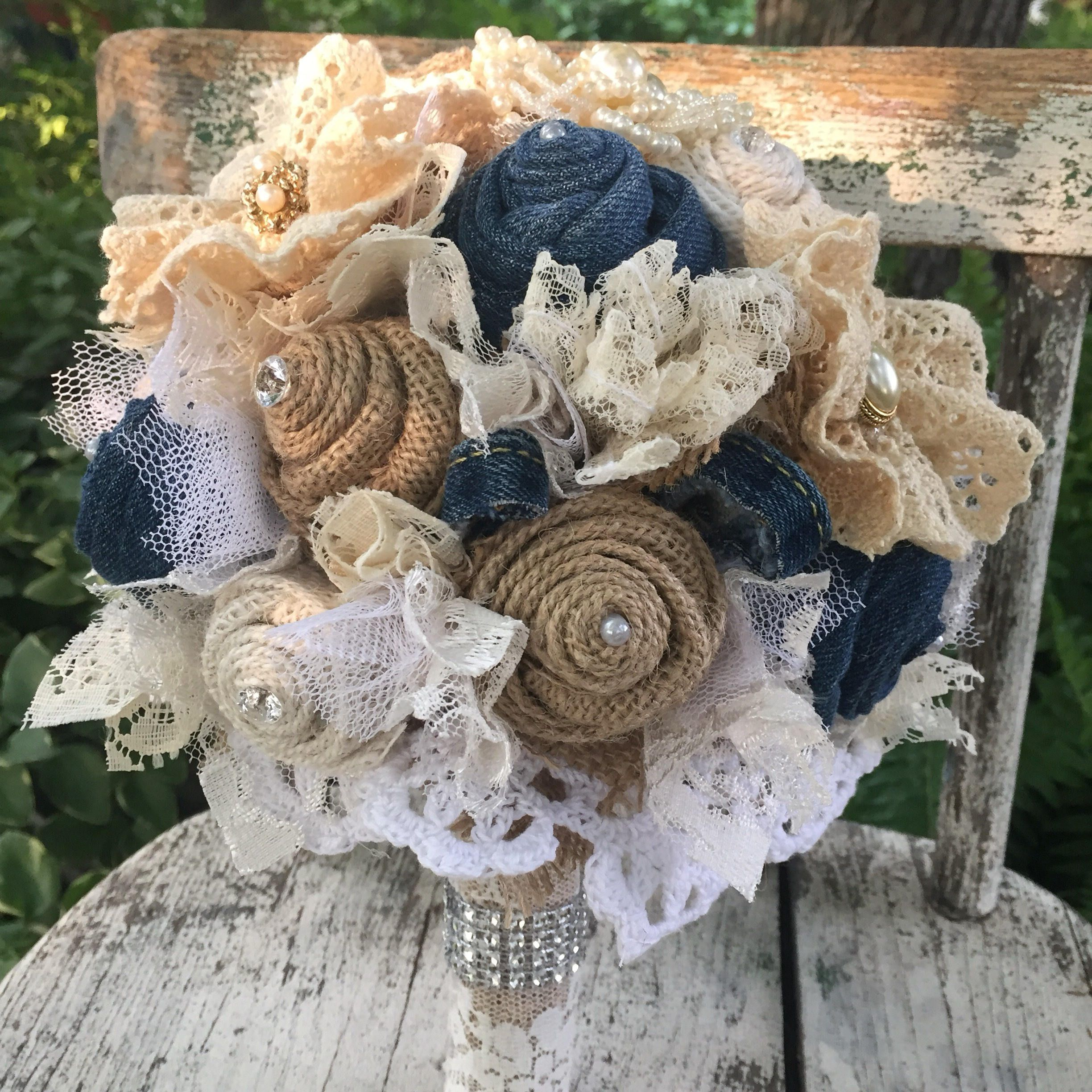 Denim Bouquet Burlap And Lace Bridal Pearls Wedding