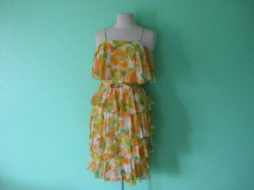 70s dress - summer vintage party dress - size small