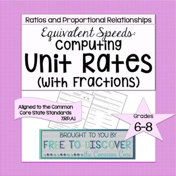 Unit Rates Discovery Worksheet Fractions Unit Rate Fractions Worksheets Worksheets on unit rates