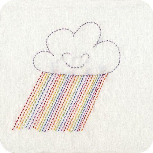 Happy Cloud And Rainbow Rain In Backstitch