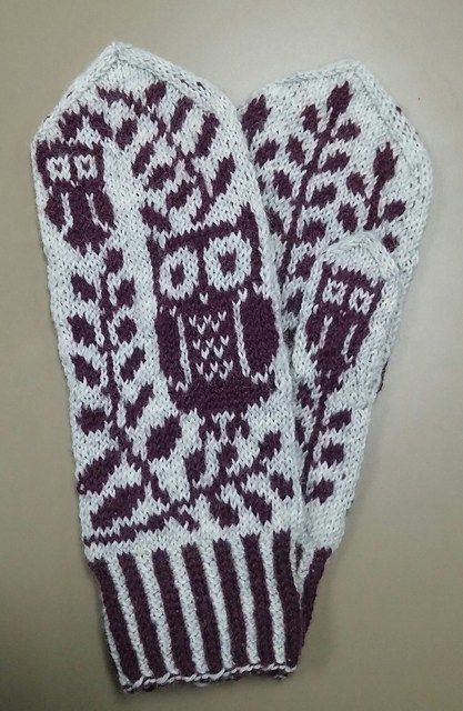 Free Knitting Pattern For Grey Eyed Owl Mittens Rebecca Tsais