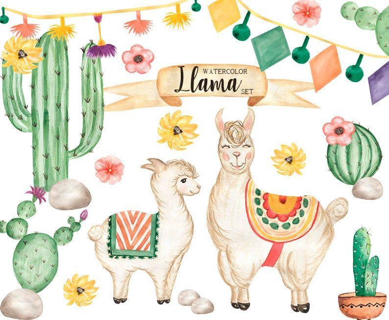 Llama Clipart Watercolor Baby Alpaca Clip Art Lama Print Etsy Etsy Digital Art Etsy Watercolor Watercolor Printable Art