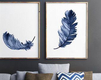 Royal Blue Feather Print Set 2 Leinwand Federn Aquarell Malerei, Abstrakte  Wohnzimmer Dekor, Baby Boy Dusche Geschenk Kindergarten Kinder Wand Druck