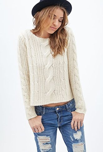 Boxy Cable Knit Sweater Forever 21 2000119914 Everyday Is A