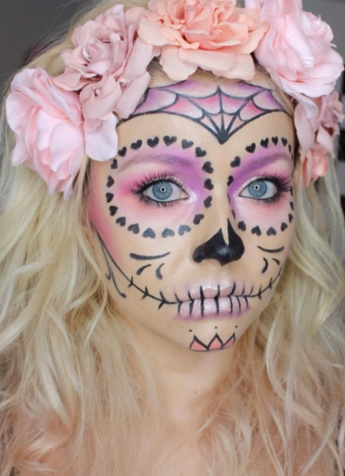 Girly Pink Sugar Skull Halloween Day Of The Dead Sugar Skull Makeup Sugar Skull Face Paint Halloween Makeup Looks