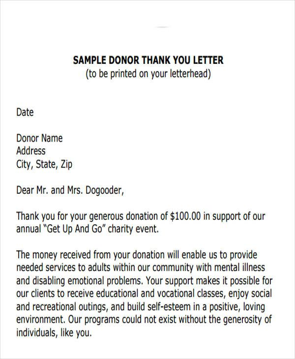 Charity Donation Thank You Letterg Letters The Townwide Fund