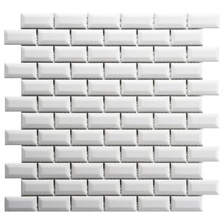 Somertile 12x12 Inch Victorian Subway Beveled Glossy White Porcelain Mosaic Floor And Wall Tile 10 Tiles 10 21 Sqft