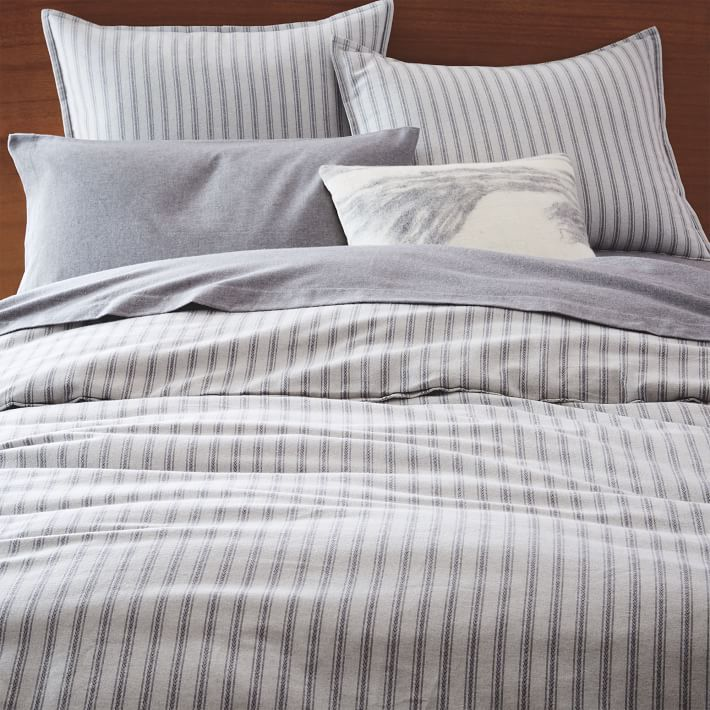 Flannel Arrow Stripe Dobby Duvet Cover Full Queen Light Gray