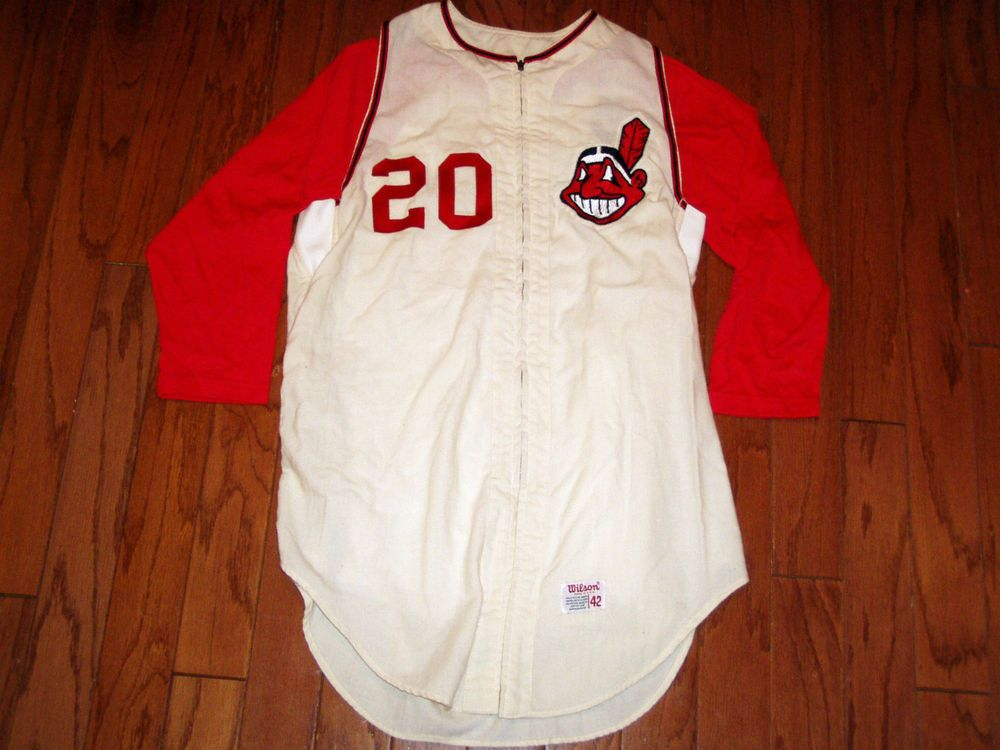 766e8b930b6 VINTAGE GAME USED 1960s CLEVELAND INDIANS FLANNEL JERSEY in Sports ...