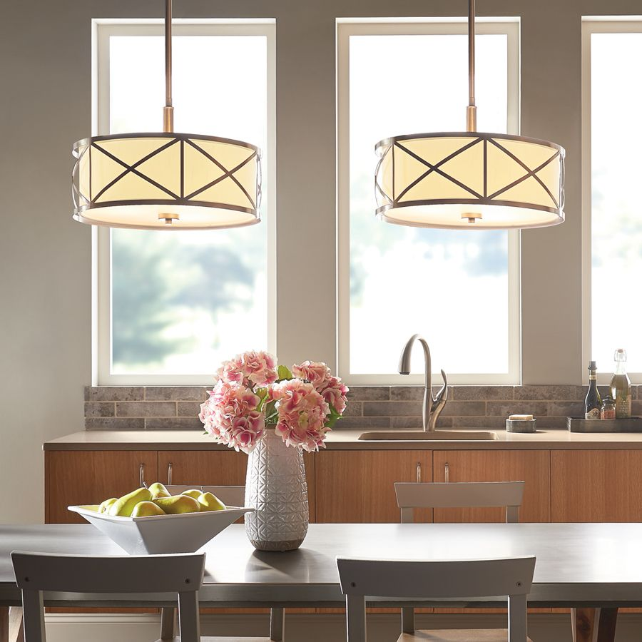 Kitchen Semi Flush Lighting Shop Kichler Lighting Bands 1402 In W Brushed Nickel Fabric Semi