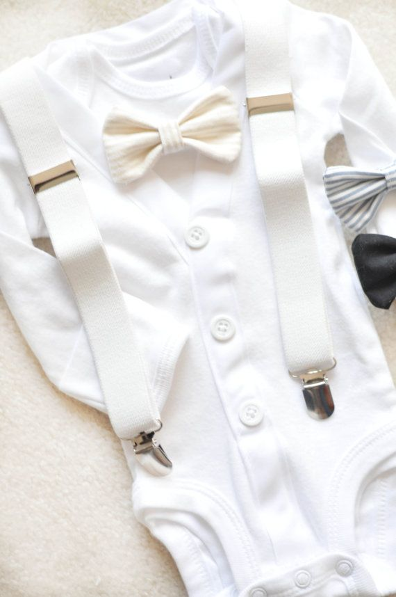 40b38e175d This is a full set cardigan bodysuit with undershirt snap onesie, bowtie  and adorable suspenders! Choose the bowtie you would like to have
