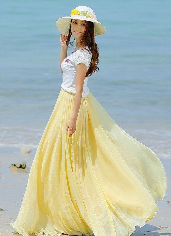 Bright yellow wedding long chiffon skirt maxi skirt ladies for Yellow maxi dress for wedding