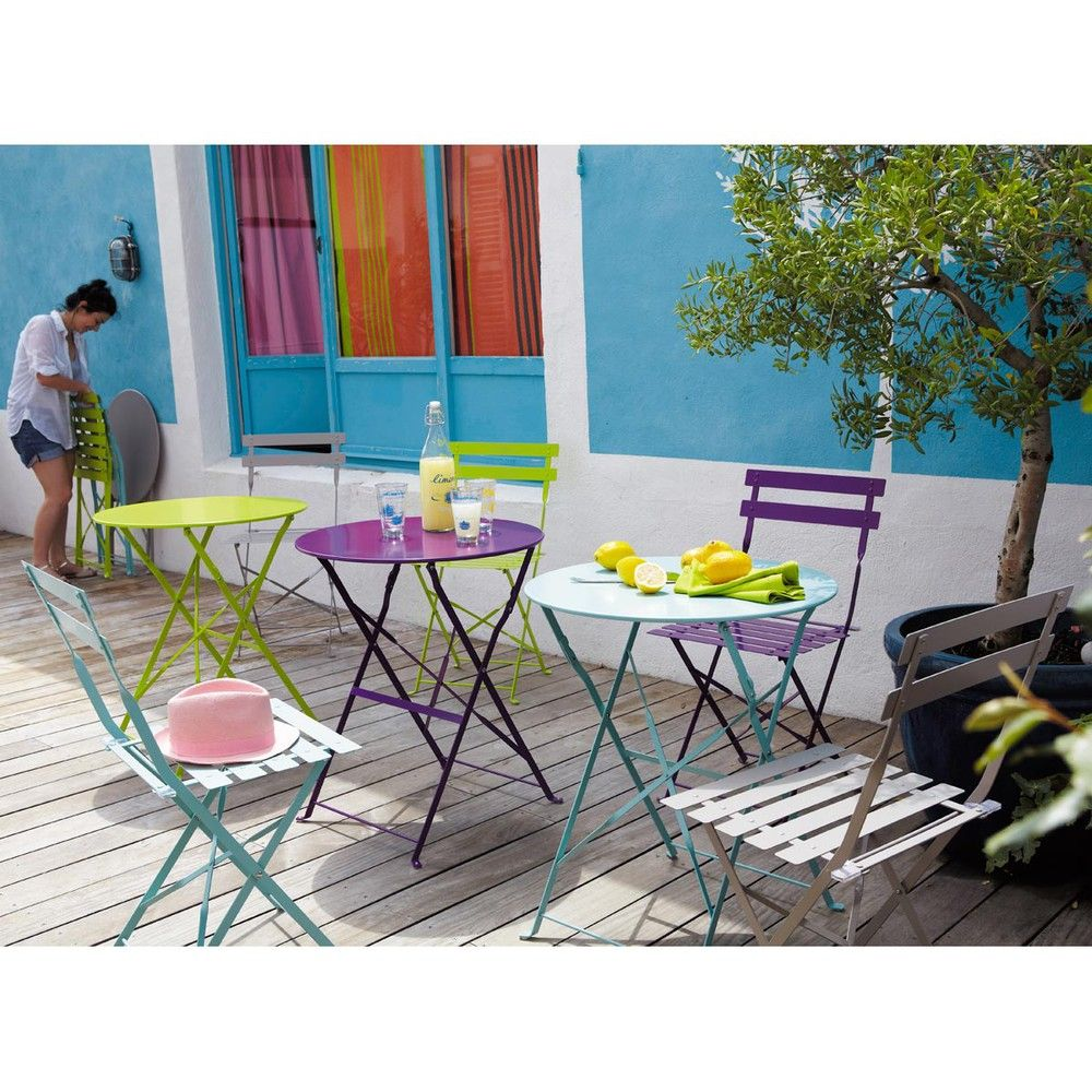 Table de jardin pliante en métal turquoise D58 | Verandas