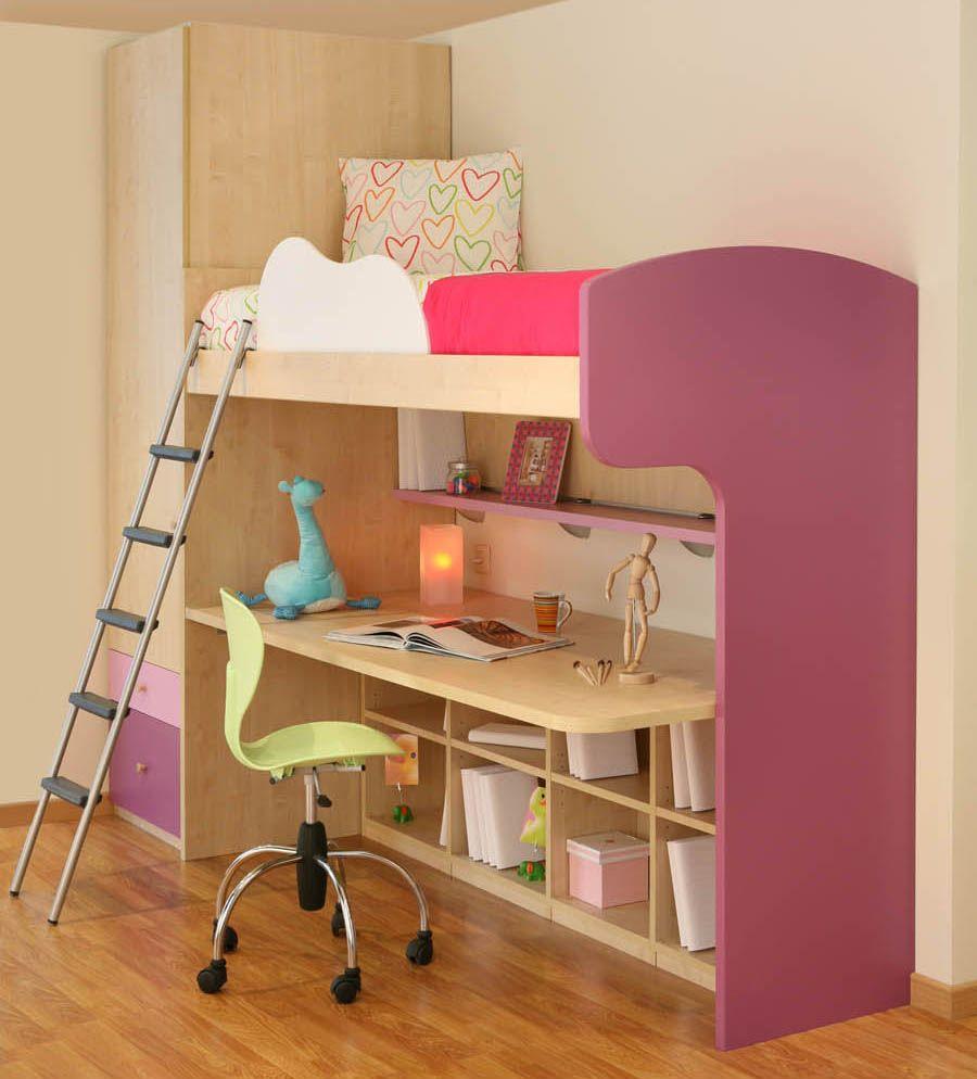Alta Möbel r70 juvenil compacto de cama alta mesa de estudio biblioteca y