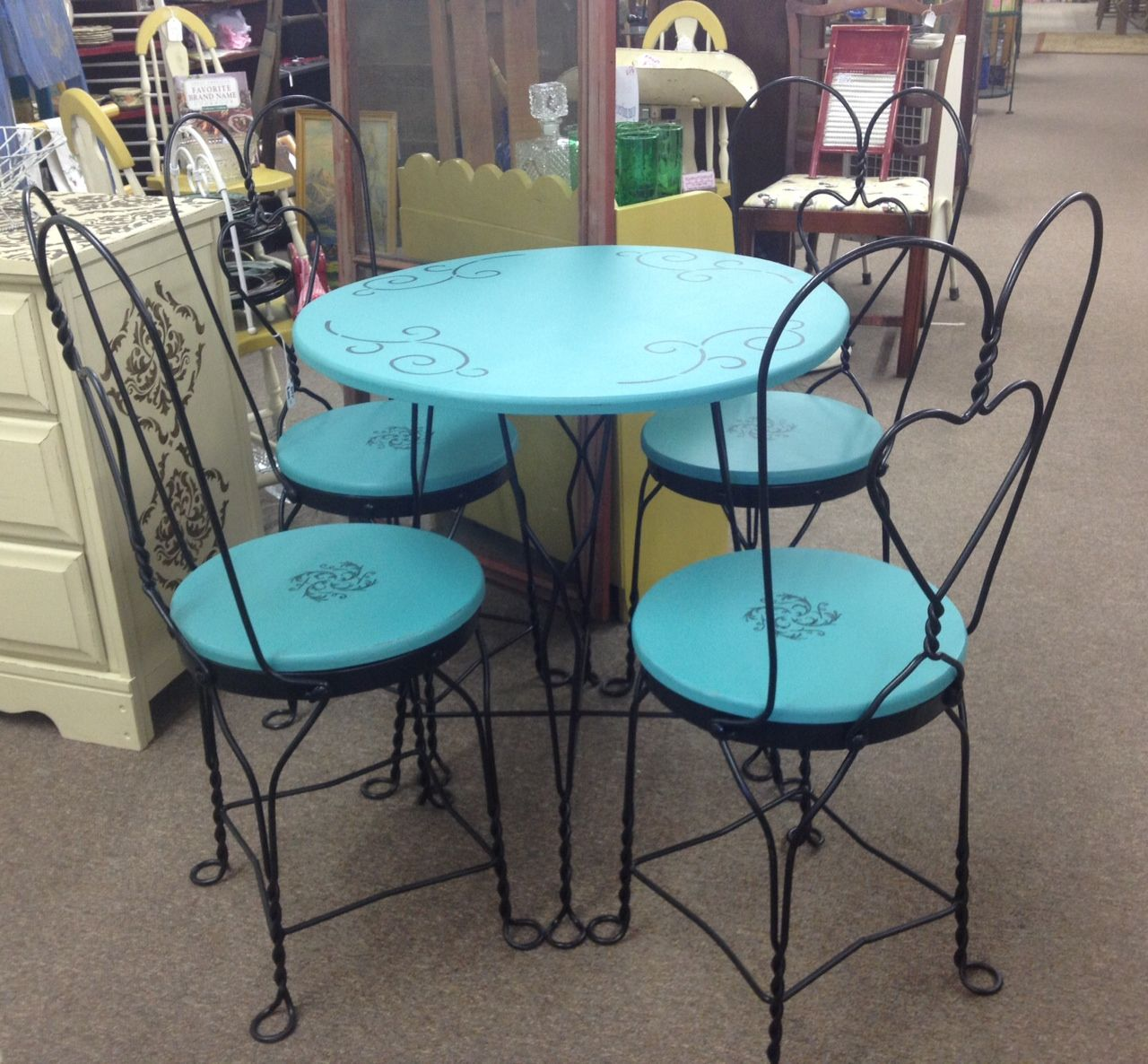 Black distressed dining table and six parlor chairs stamped 1928 - Painted Table And Chairs Antique Ice Cream Parlour Table And 4 Chairs Hand Painted
