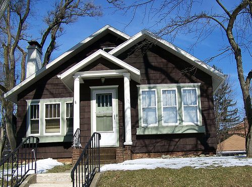 Dark Brown Bungalow Google Search House Exterior House Styles House Deck