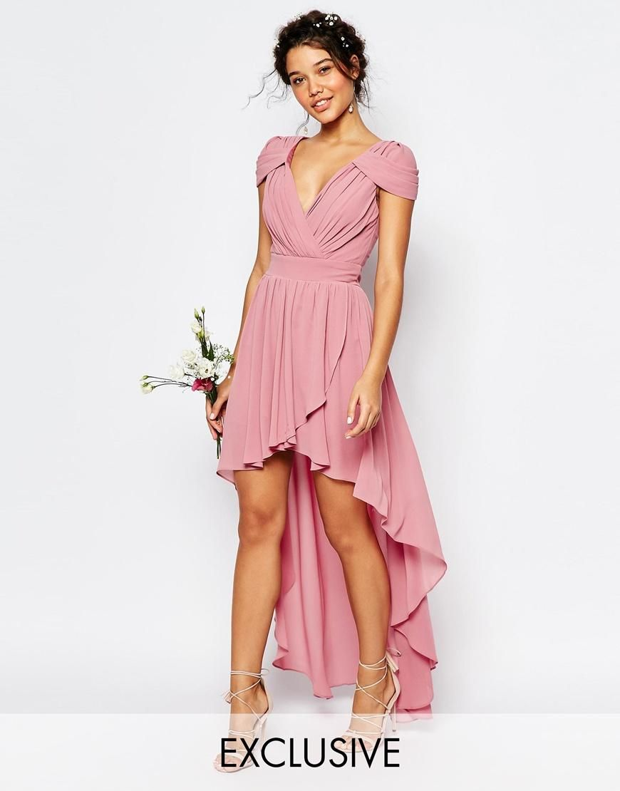 TFNC | TFNC WEDDING High Low Chiffon Dress at ASOS | pink | Pinterest
