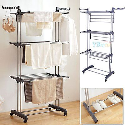 Extra Large Clothes Airer 3 Tier Indoor Outdoor Laundry Dryer Rack
