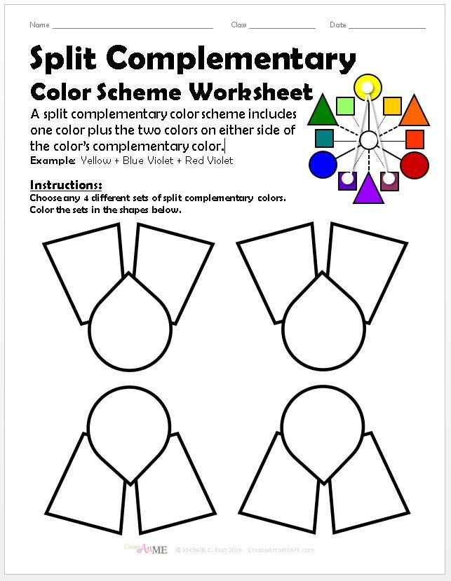 BUNDLED Color Schemes Worksheets PACKET in 2020 Split