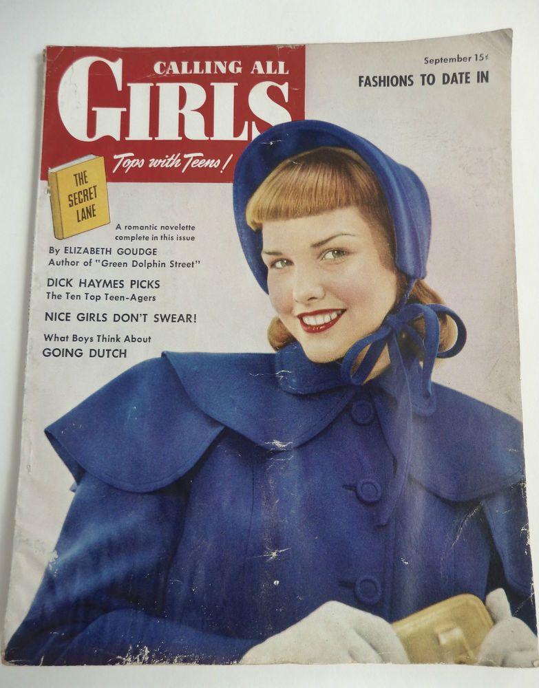 CALLING ALL GIRLS VINTAGE 1940's MAGAZINE SEPTEMBER 1948 FASHION 4 DATING &  MORE