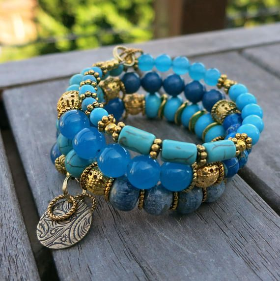 Gold and Blues - Memory Wire Bracelet and Matching Earrings   Memory ...