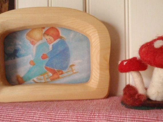 waldorf postcard frame/ handcarved wood picture portrait frames ...