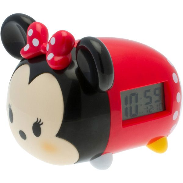 Disney Minnie Mouse Light-Up Alarm Clock ($15) ❤ liked on Polyvore featuring home, home decor, clocks, battery powered digital clock, battery powered alarm clock, battery digital alarm clock, minnie mouse alarm clock and minnie mouse clock