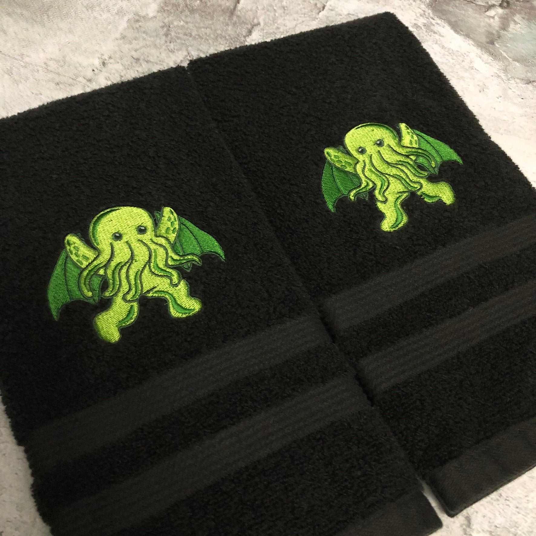 Photo of Cthulhu Hand Towel Set, gothic decor, Halloween decor, Lovecraft, sea monster, horror decor, creatures, mythical, Halloween