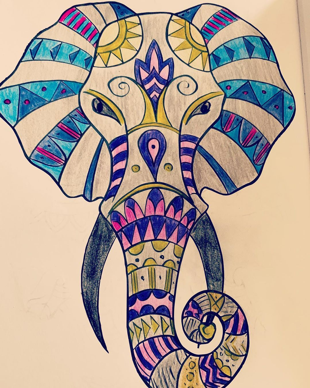 #colouring #colouringforadults #colouringbook #tattooideas #tattooart #colouringbookforadults #colours #artofinstagram #artwork #elephantdesign #elephanttattoo #elephantart #artsy #pencils #coolcolors #coolcolorscheme #pictureoftheday #stayhome #stayhealthy #stayathome #isolation #isolationcreation