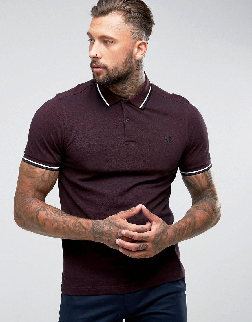 8fa6532ca Fred Perry Slim Fit Tipped Oxford Weave Polo In Burgundy - Red