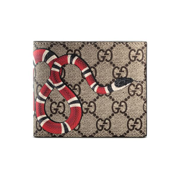 8941eb6d846813 Gucci Snake print GG Supreme wallet ($350) ❤ liked on Polyvore featuring  bags, wallets, snake print wallet, canvas wallet, python bag, brown wallet  and ...