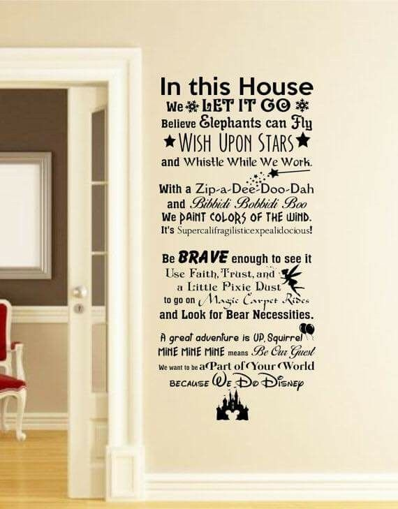 In this house we do disney wall decal disney wall quotes wall vinyl decal wall decor wall art wall words disney saying wall stickers
