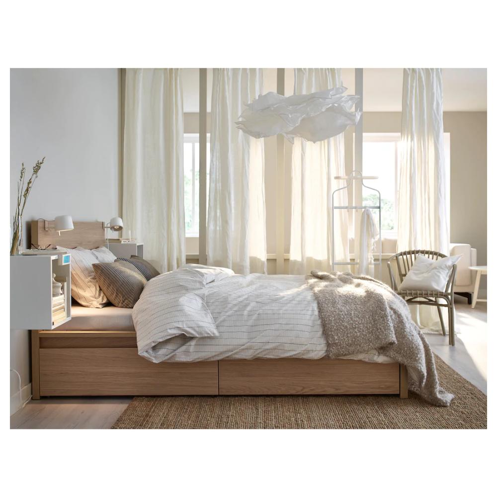 Krusning Pendant Lamp Shade White 33 Ikea In 2020 Pendant Lamp Shade Oak Bedroom Furniture Bedroom Design