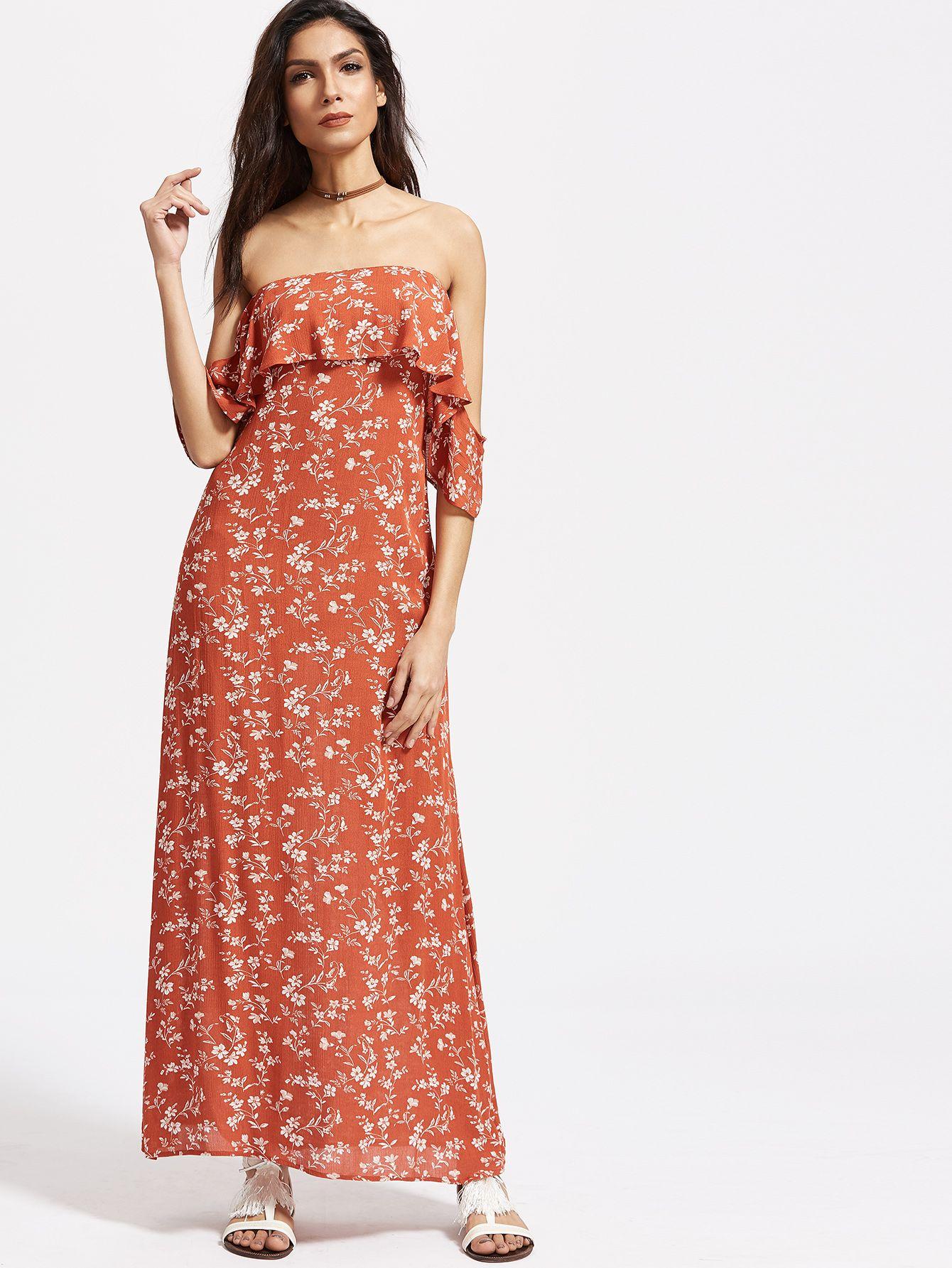 89568bde76 Vestido con estampado floral espalda con abertura hombro al aire con  volantes-(Sheinside)