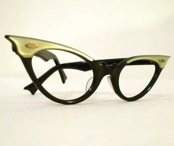 Black, Grey Pearlized Horn Rimmed Cat Eye Frames, Extreme Winged Two Tone 1950s 1960s  Eye or Sunglasses, Amazing NOS