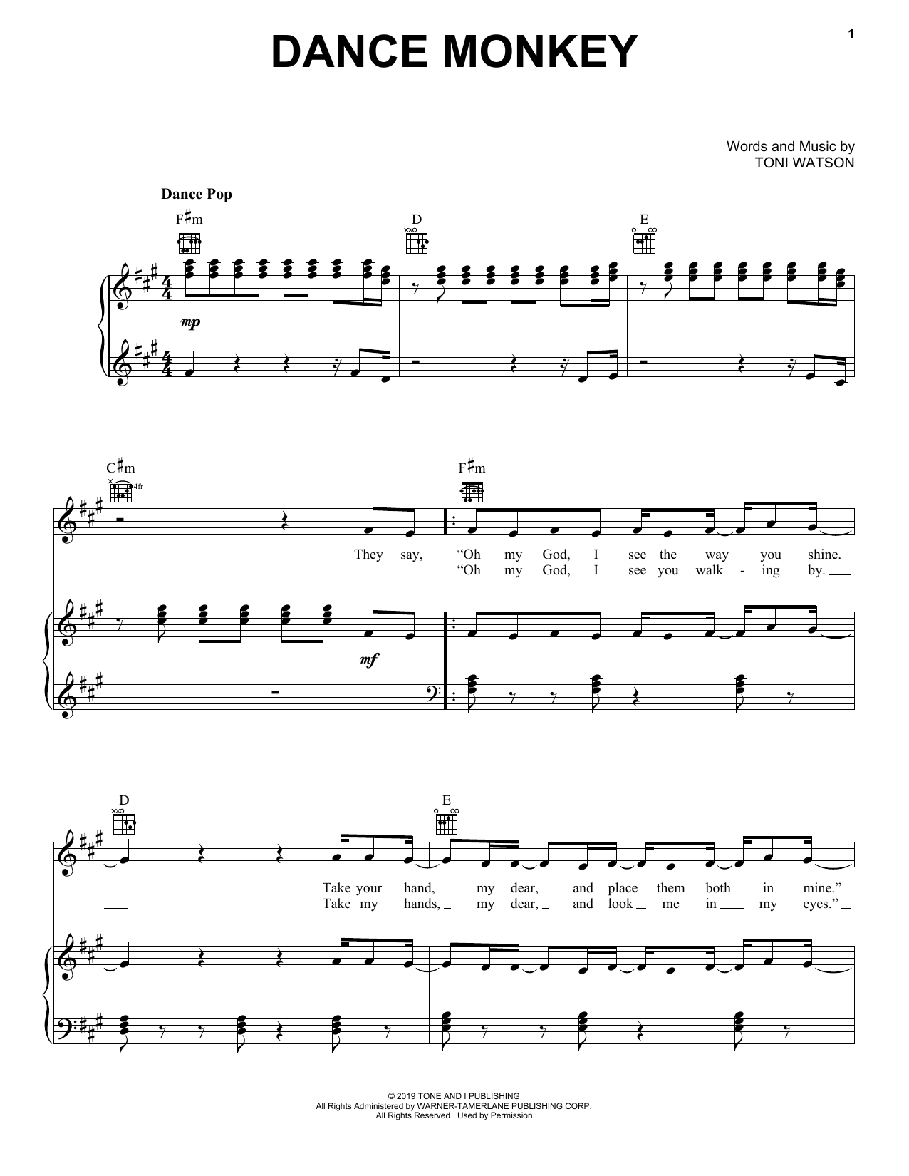 ♬ Tones And I Dance Monkey Sheet Music, Piano Notes, Guitar Chords
