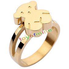 d76ad9edd350 Oso de acero inoxidable para mujer Anillo de plata oro Tamaño de la joyería  6-9